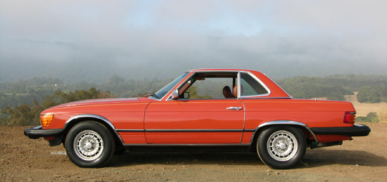 The 380SL (1981-1985) was unloved after regular timing chain failures over the first 2.5 years of production. This is a 1981 model finished in English Red. Chrome wheel arch moldings were popular aftermarket addition for the &quot;look at me&quot; crowd. The 380SL is visually virtually identical to the late 450SLs.  